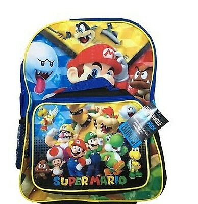 "Super Mario Boys & Girls 16"" School Backpack With Lunch Bag Set"