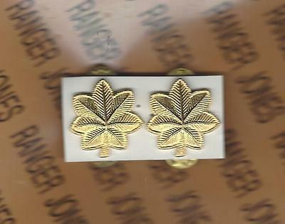 US ARMY MAJOR MAJ. 0-4 rank uniform clutchback badge set pair