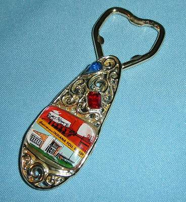 Advertising ~ Indiana Toll Road ~ Gold Tone & Crystals ~ Bottle Opener