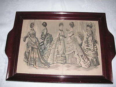 Antique Ladies Godey's Dresser Tray - March 1875 - Wood Tray W/ Art Print