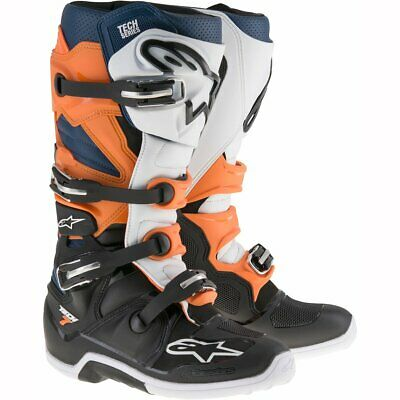 NEW Alpinestars Tech 7 Boots Black White Orange from Moto Heaven