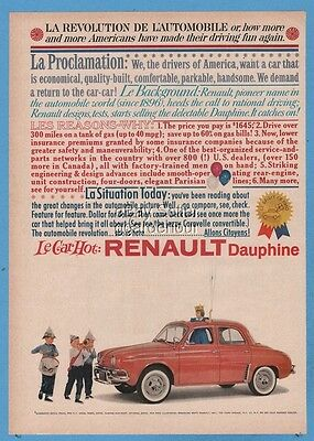 1960 Renault Dauphine red sedan Revolution Drivers of America French car ad