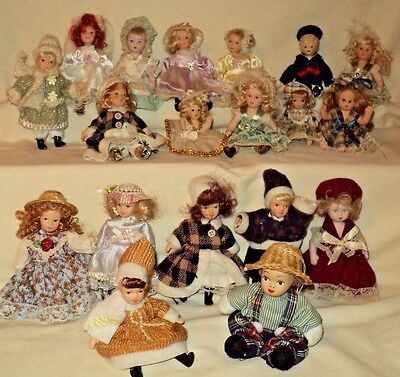 """Mini Porcelain Doll LOT OF 19 All Different ~ 4"""" & 5"""""""