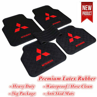 Waterproof Rubber Car Floor Mats Black Red Mitsubishi Lancer ASX Triton Pajero