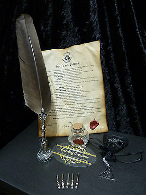 Harry Potter Quill set, inkwell, List of Spells. Deathly Hallows necklace.