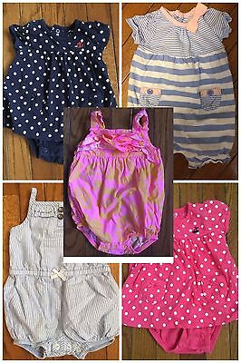 EUC Carter's Baby Girls Lot of FIVE Rompers - 6 Months