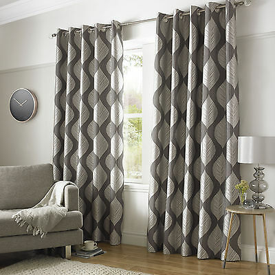 """Silver Luxurious Jacquard Eyelet Ring Top Fully Lined Ready Made Curtains 46x90"""""""
