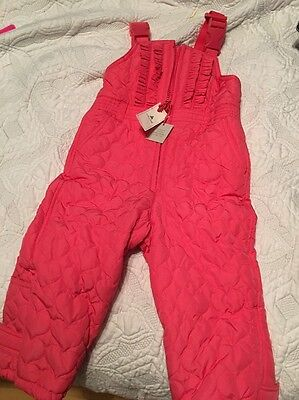 Baby Gap Girls Toddler Pink Heart Quilted Snow Pants Winter 2t NWT