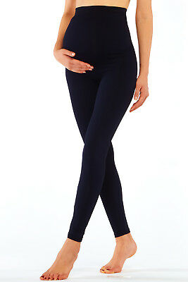 Full Length Pregnancy Pants Base Layer Maternity Legging Over Bump Support Black