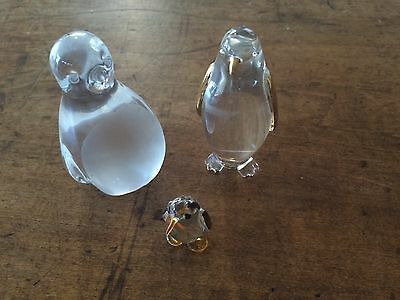 Miniature Glass Crystal Penguin Hand Crafted Lot Of 3 Shelf Art Collectibles