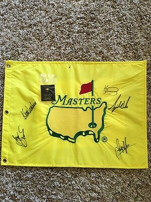 RARE ! 1997 Masters Augusta Flag  SIGNED Tiger Woods  + ARNOLD PALMER LAPEL PIN