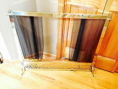 Antique VTG BRASS Fireplace Mantle Firescreen Frame opens closes Pull knobs