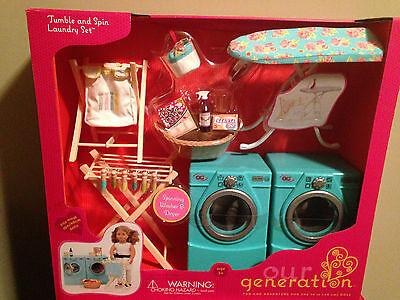 "NIB Tumble & Spin Washer Dryer Laundry Set Our Generation  American Girl 18""Doll"