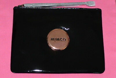 Brand New Mimco Medium Pouch Black Patent Leather Rose Gold Hardware Clutch