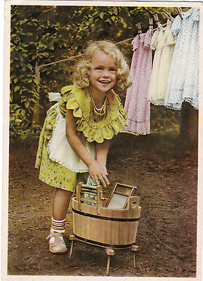 RARE Cute Girl washes her dresses old German postcard