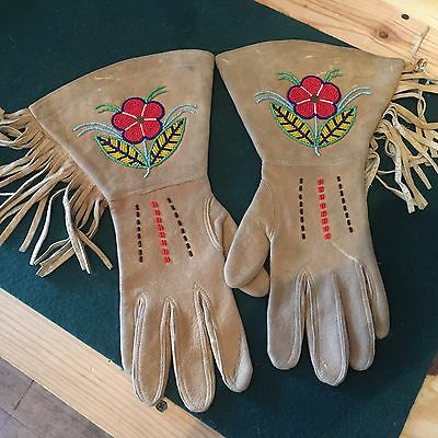 Early 1900's Antique Native American Indian Braintan Beaded Gauntlets Gloves