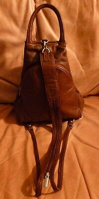 VERA PELLE Leather Backpack converts to Rucksack Italian made Brown Large