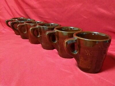 Vintage Marcrest Stoneware Pottery Coffee Cup Mug Brown Glaze Daisy Dot Set Of 6