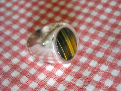 """Man's Sterling Silver Tiger's Eye Ring Size 11.5 Signed JCG and Taxco Eagle """"3"""""""