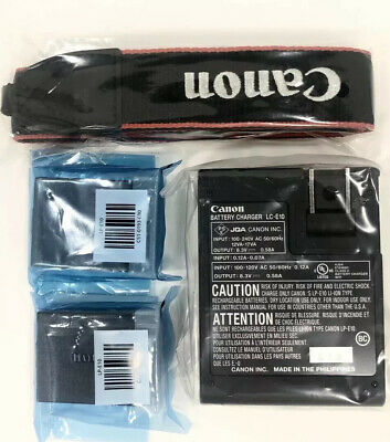 Genuine Canon Rebel Camera Battery x2, Charger, Strap Fits T3/T5/T6/T7