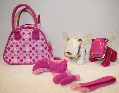 Pink White I Dog Purse Bag Clothes, Sweater,Hat, Scarf -Hasbro Lot