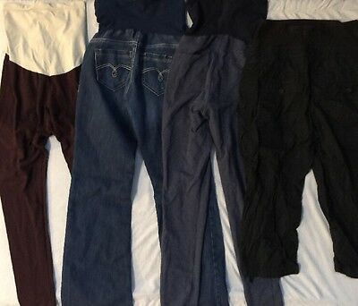 Lot of 4 Maternity Pants Capris Leggings, All Size SMALL. Free PRIORITY Shipping