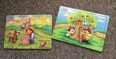2 Fisher-Price Little People Wooden Puzzles