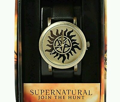 Supernatural Antipossesion Symbol Black Accutime Watch New In Themed Show Box