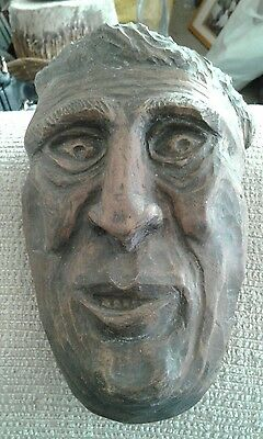 Wood Hand Carved Face