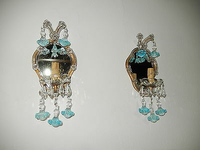 ~c 1920 French Aqua Blue Ribbon Murano Drops  Mirrors  Sconces Original Vintage~