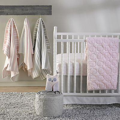 Girls Shabby Chic Pink Wheel Nursery Cot Quilt Coverlet Cocalo Baby Crib Bedding