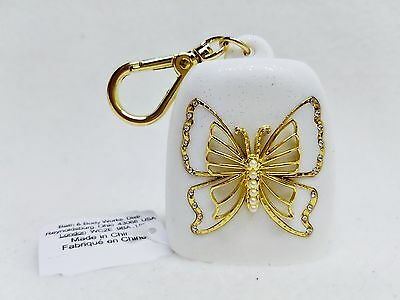 Bath & Body Works GOLD BUTTERFLY Pearl Gem Pocketbac Holder Clip Case Sanitizer