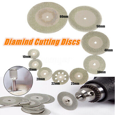 10x Diamond Cutting Wheel Discs 16-60mm + 2 Arbor Shaft Blades for Rotary Tool