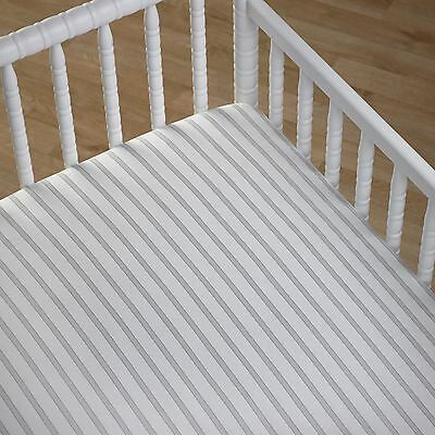 Boys Girls Grey & White Stripe Fitted Nursery Cot Sheet Cocalo Baby Bedding