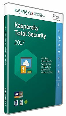 Kaspersky Total Security 2017 - 5 PC/Mac/Android 1-Year License (works in UK/EU)