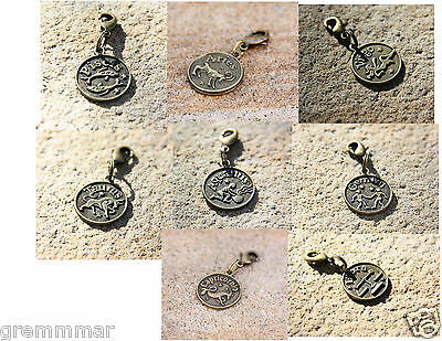 Zodiac Signs Both sided 17mm round  Bronze tone clip on charm, zipper pull charm