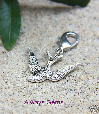 Flying Bird detailed silver tone pewter clip on charm zipper pull charm  New