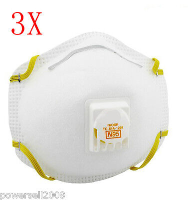 White Three Layer Adult Protective Dust/Virus Facepiece Respirator Mask 3 PCS