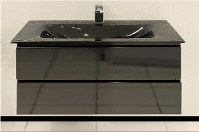 VANITY BATHROOM 800mm Wall Mount  UNIT WITH  FREE FAUCET  BLACK New