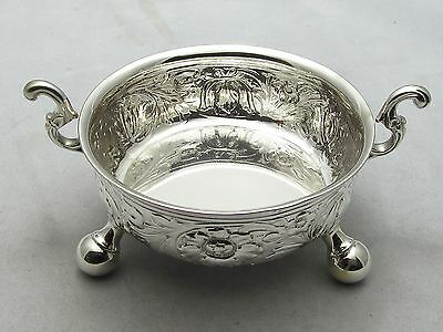 Beautiful Solid Sterling Silver Chased Bowl - Dated London 1914