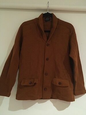 vintage 'old man jumper' rich brown colour feature buttons. pure wool. size med