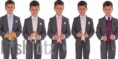 Boys Suit Fitted Grey Wedding Pageboy Suits 6pc Cream, Ivory, Purple, Pink, Blue