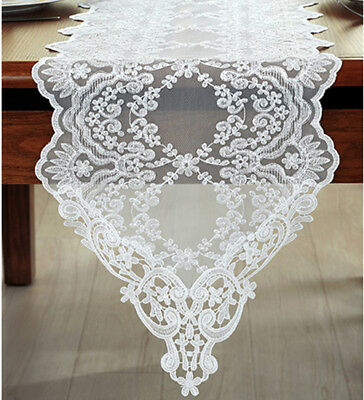 Ivory Lace Table Runner Embroidery Lace Wedding Runner Piano Runner Home Decor