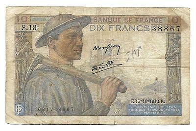 10 francs France WWII banknote, ND(1942), F-F+