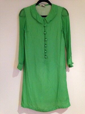 authentic vintage 60's shift dress. Bright green, bauble buttons. Long sleeve