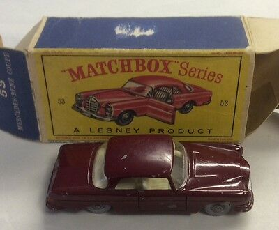 1960s.LESNEY.Matchbox.53,Mercedes Benz Coupe ,maroon in  Original good  box.
