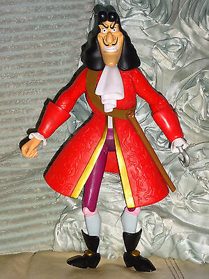 "Disney Peter Pan's Captain Hook 12"" Action Figure Jointed Toy Good Cond"
