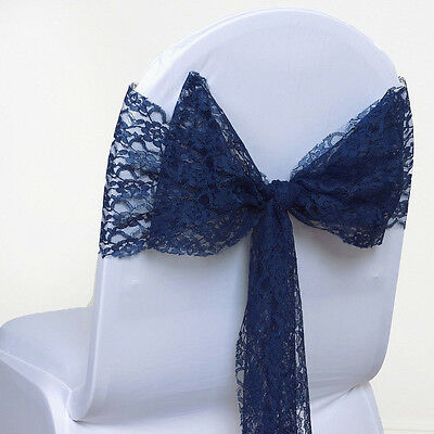 50 PC Navy Blue  Lace Bow Sash for chair cover sashes For Wedding Banquet Party