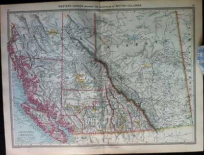 Maps of WESTERN CANADA and UNITED STATES c1906 Harmsworth Atlas, 2 color maps