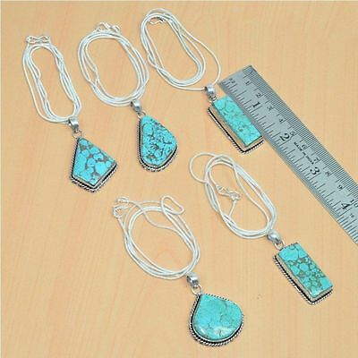 Wholesale 5Pc 925 Silver Plated Natural Turquoise Pendant & Chain Lot